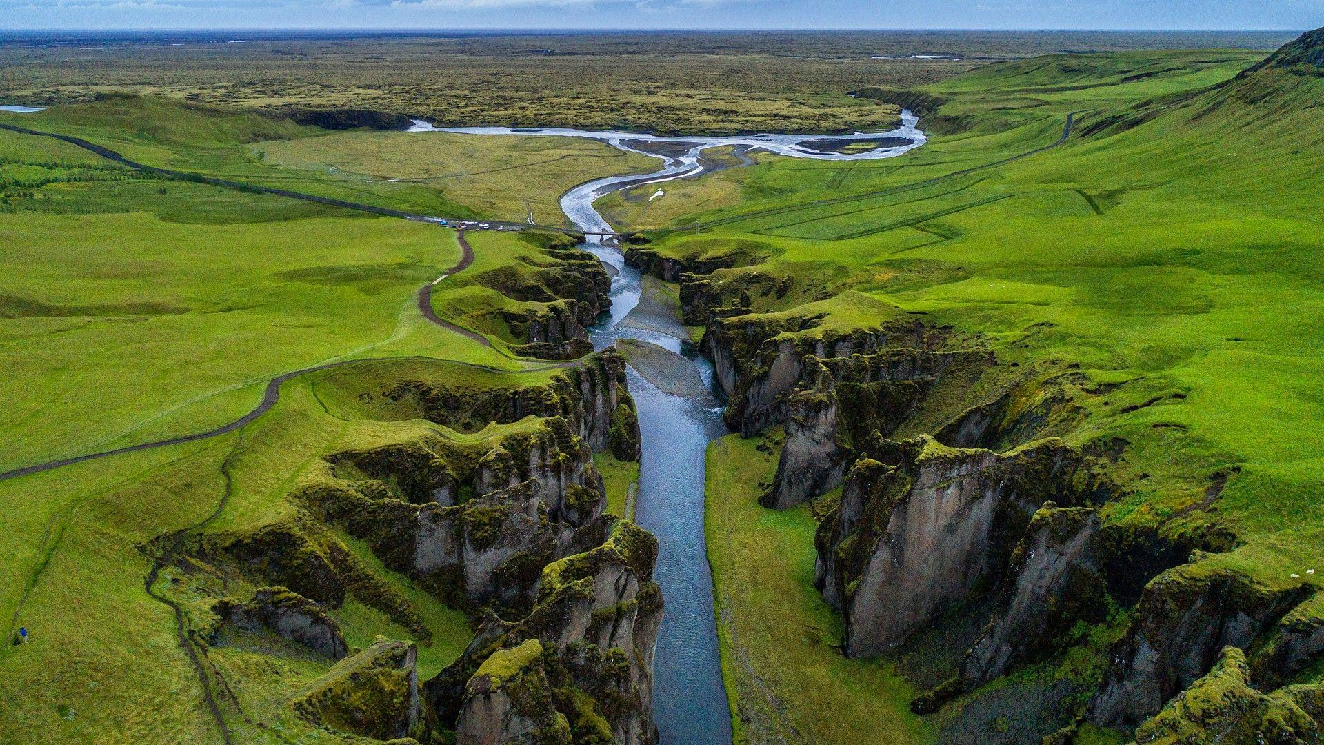 Aerial view of the Fjaðrárgljúfur canyon, Iceland.jpg